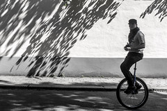 Rolling (Jani M) Tags: man shadow silhouette street tree unicycle urban wall