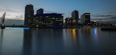 Media City (stephenballam) Tags: sunset manchester salford quays mediacity reflection clouds media photography longexposure bbc itv bridge