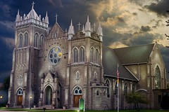 Sunset Divinity (dk_contrast) Tags: church holy cross catholic marine city michigan sky clouds light painting hdr sony a57 35mm prime lens pure