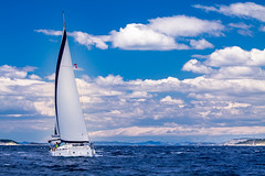 Sailing in Adriatic (Wolfhowl) Tags: wind fenders sailing waves boats bavaria47 bavaria yacht bbyachting clouds adriatic croatia fender yachting travel sails sea blue sky seascape genoa europe speed bavariacruiser