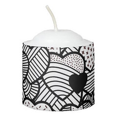 Cute black white hearts patterns Candle (Forart Gift) Tags: cute black white hearts patterns candle bougie vela kerze キャンドル kaars candela lys stearinlys ljus