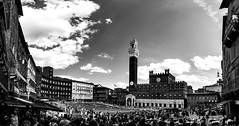 Piazza del Campo, Sienna, Italy (Nir Roitman) Tags: travel europe italy sienna piazzadelcampo sky city street bw clouds urban architecture cityscape building black white square panorama italia bnw
