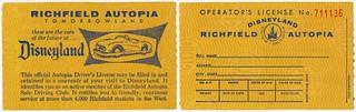 Richfield Autopia Driver's License, Disneyland, Anaheim, California, 1950s