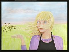 The Bee Charmer (M.P.N.texan) Tags: acrylic acrylics paint painting girl bees art original handpainted mpn