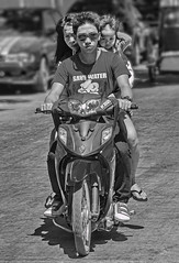 The Young Family's Motorbike (FotoGrazio) Tags: 3 child documentaryphotography philippines streetphotography waynegrazio waynesgrazio worldphotographer blackandwhite dangerous family familyofthree fotograzio motorbike people streetbike streetscene three together transport transportation traveling unsafe youngfamily