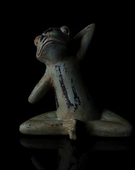The Yoga Frog (Bill Gracey 15 Million Views) Tags: ceramic statue figurine frog color colorful yoga yogapractitioner homestudio blackbackground perspex softbox sidelighting directionallight shadows shadowshapes yogapose yongnuorf603n yn560 whimsical green orange