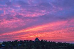 sunset 7069 (junjiaoyama) Tags: japan castle historic old heritage sunset sky light cloud weather landscape pink contrast colour bright summer purple