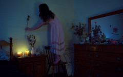 A room of one's own. (Deadsketch) Tags: dreamy vintage creepy flowers rose portrai self portrait room bedroom cool tone pink dress ghost
