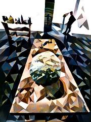 The Room Rocks and Moon Rock (Steve Taylor (Photography)) Tags: moonrock table art abstract digital sculpture contrast rock man newzealand nz southisland canterbury christchurch city artgallery shape triangle shadow
