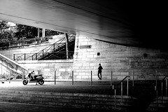 The man and the motorcycle (pascalcolin1) Tags: paris13 homme man moto motorcycle pont bridge lumière light ombre shadow photoderue streetview urbanarte noiretblanc blackandwhite photopascalcolin