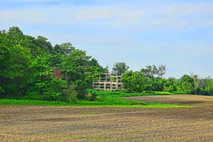 Spring Planting by the Skeleton of  the Old Barn (Brian 104) Tags: field barn frame spring cropsplanted trees