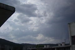 Abbottabad Skies. (Somersaulting Giraffe) Tags: outdoor clouds beforerain sky blue buildings chimney abbottabad pakistan nature ngc outsidemywindow serene halcyondays building memeories places