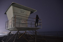 San Elijo Campground (laurenwilliamsonphotography) Tags: sky stars astro astrophotography lifeguardtower trees beach night