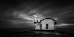 Tacking Point Light House (Kaoz Media) Tags: monochrome blackandwhite coast portmacquarie nsw australia clouds longexposure structure lighthouse outdoors seascape landscape