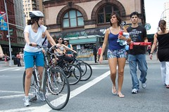 Bicyclists and pedestrians  on Lafayette Street during Summer Streets. (jackszwergoldarchives) Tags: manhattan newyorkcity summerstreets szwergold