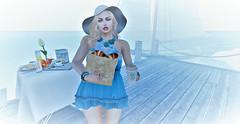 Foggy Sunday Morning Brunch at Docks (Sparkle Mocha) Tags: aphroditerings kustom9 swallow truth pyramid ears uber essence avatar secondlife floppy hat floppyhat coffee breakfast sailboat docks dock warf sea water