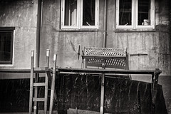 The Bench (Alfred Grupstra) Tags: blackandwhite old architecture house oldfashioned window outdoors buildingexterior nopeople builtstructure obsolete abandoned urbanscene monochrome history woodmaterial retrostyled residentialbuilding sepiatoned architectureandbuildings bench