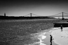 A View Down the Tagus River. (mdavies149) Tags: lisbon bridges rivers portugal blackandwhite mono monochrome landscapes europe nikon d600 michaeldavies vacation city break rivertagus
