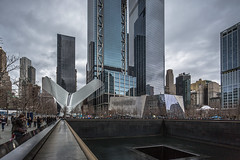 Ground Zero Memorial and Oculus (cpphotofinish) Tags: cpphotofinish carstenpedersen canondslr canon5dmk3 carst1 nyc manhattan newyork usa highline chelsea canonofficial square tourist yellowcab urban image outdoor outside photo panoramic panorama sky street streetphoto dslr day daylight foto farger light canon canonredlable color canonef colour clouds bilde blue ef1740mmf4lusm