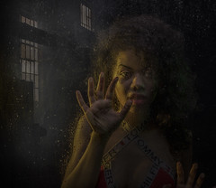 Alone In The Dark (Neil A Kingsbury) Tags: portrait woman girl adult isolation fear atmosphere building light dark