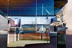 zone P (roberke) Tags: digitalart creation creative creatief photomontage photoshop textures textuur surreal architecture architectuur windows ramen street straat kleurrijk