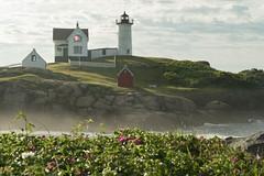 Nubble Lighthouse (Michael P Bartlett) Tags: plants nubble york island sea ocean seascapes lighthouse maine fog nubblelighthouse
