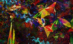 Summer night (Bamboo Barnes - Artist.Com) Tags: abstract papercraft origami texture red yellow blue green vivid digitalart light shadow bamboobarnes photo japan oriental