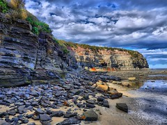 Warden head south II (elphweb) Tags: hdr highdynamicrange nsw australia wardenheadsouth headland beach rocky rocks rockformation cliff sea ocean water coast coastal skies sky cloud clouds