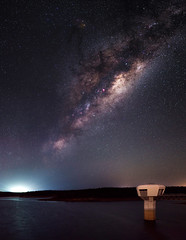 Milky Way Rising - North Dandalup Dam, Western Australia (inefekt69) Tags: northdandalup westernaustralia australia great rift panorama stitched msice landscape wide astrophotography astronomy stars galaxy milkyway galactic core space dam night nightphotography nikon 50mm hoya red intensifier d5100 dslr longexposure perth southern southernhemisphere cosmos cosmology outdoor sky landscapeastrophotography reservoir catchment water