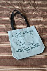 A Little Veganism Never Hurt Anybody Totebag (Vegan Butterfly) Tags: vegan veganism product herbivore clothing animal rights cow totebag meat beef steak dairy milk cheese