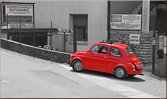 little red roadster (mhobl) Tags: fiat fiat500 selectivecolors red otaöy
