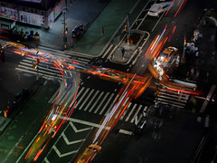 Lifelines of the city that never  sleeps (marianna_a.) Tags: urban city motion speed lights longexposure multipleexposure newyorkcity ny thecitythatneversleeps traffic cars night crosswalk fromabove birdseyeview