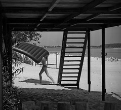 Hot Summer Afternoon (sabpost) Tags: boy teenager beach summer day bw art person river shadow building swim bathing hot