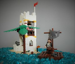 Escape from Sabre island (adde51) Tags: adde51 lego moc 6265 sabre island summer joust 2017 pacific fort white yellow raft shark ocean pirate pirates journey sailing