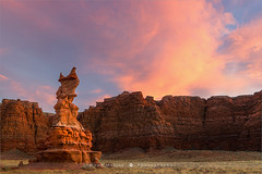 Hopi Clown - Arizona - USA (~ Floydian ~ ) Tags: henkmeijer floydian photography arizona hopiclown kachinadolls sculpture unitedstates american southwest desert sunset dusk evening landscape landscapes moenavesandstone skyonfire wardterrace moenkopi painteddesert navajonation color colour colourful colorful clouds canon canon5dmarkiv