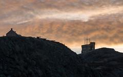 Fiery Signal Hill (corybeatty) Tags: atlantic maritimes sunset sunrise canada historic landscape nikon fiery clouds signal hill cloudscape cabot tower rocks cliffs newfoundland