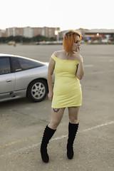 Sportscars (ErikaExpósito) Tags: orangegirl orangehair sexygirl smoking smoke shortdress yellow cigarette sportscars evening