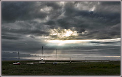 A special place (david.hayes77) Tags: heswall wirral 2017 riverdee deeestuary merseyside northwales shoreline contrejour yachts lowtide crepuscularrays landscape dusk sky clouds skyscape specialplace