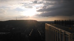 View from a top Place Ville Marie of Mont Royal. (iluvgadgets) Tags: montreal montroyal canada quebec intothesun clouds sunset lesenfantsterribles itsbeenalongday 117picturesin2017