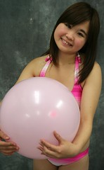 P Is For Pink. (emotiroi auranaut) Tags: girl adorable cute nice sweet happy happiness innocent innocence round toy balloon hands pink smile smiling fun pretty female feminine femininity