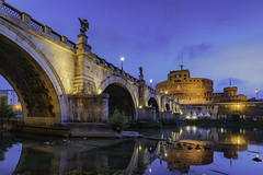 Castel Sant'Angelo above the Tiber (JWY80) Tags: castelsantangelo rome roma lazio italy it hadriansmausoleum reflection longexposure bluehour morning wideangle 1835mm d750 nikon summer ponte santangelo bridge stalls tiber tevere water pontesantangelo june dawn lungoiltevere nopeople