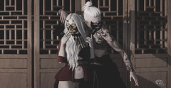 Fighting beings, they were preparing for their destiny. (Rosenrott Blackheart) Tags: 3d elven elf expresion expression secondlife segundavida female gentleman models man model mujer moments maitreya hair albine albino asian nana game girl gabriel mandala