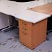 White straight oak  fixed desk 1400x600