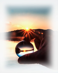 In my Grasp - Lake Lanier 07 11 17 (7699) (jim fleckenstein) Tags: sunrise nature water sphere orb glass crystal inverted abstract landscape wideangle dof depthoffield canon eos 70d