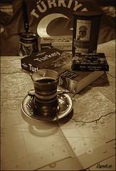 23 52 Your Favourite Book (Lyndon (NZ)) Tags: week232017 52weeksthe2017edition weekstartingsundayjune42017 türkiye turkey travel monochrome sepia ilce7m2 sony stilllife book drink food