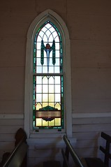 Stained glass window to the memory of Francis Seaman Riches, in former Wolseley Methodist Church, Old Tailem Town Village, South Australia (contemplari1940) Tags: stained glass window memorial wolseley methodist church tailem town village francisseamanriches