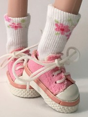 White With Little Pink Flowers...Short Socks For Blythe...