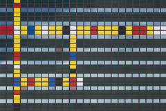 Lines and colors (JanNiezen) Tags: colors lines squares abstract green yellow red black blue architecture netherlands building