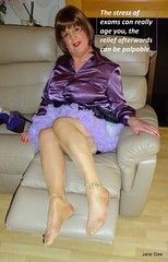 And relax (janegeetgirl2) Tags: transvestite crossdresser crossdressing tgirl tv ts mature stockings heels garters nylons mini skirt tartan glamour petticoat purple satin stilettos fully fashioned high vintage seams blouse suspenders ankle chains jane gee