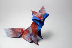 Fortuny Fox (Arturo-) Tags: fox raposa vixen papel paper origami dobradura colorful colorida acrílica acrylic tinta paint fortuny hoàng tiến quyết